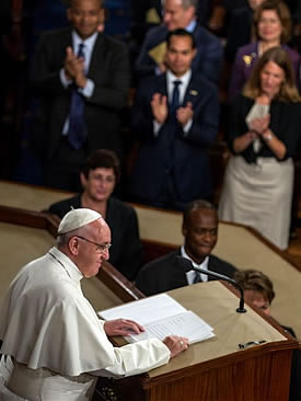 Pope Francis seen speaking ot the U.S. Congress