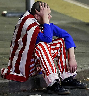 Latino American in Uncle Sam outfit confused after Trump victory