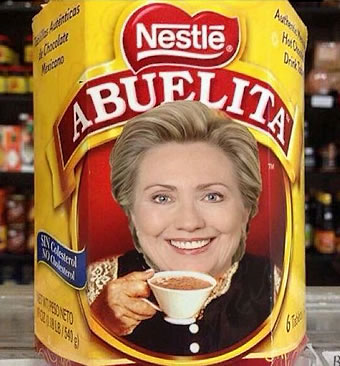 Hillary Clinton on Abuelita Chocolate box