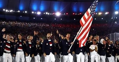 Team USA is seen walking into the Opening Ceremony of Rio Olympics